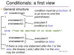 conditionals a first view