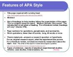 features of apa style