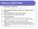 features of mla style