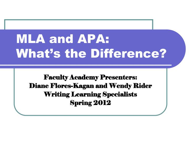 mla and apa what s the difference n.