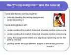 the writing assignment and the tutorial