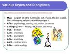various styles and disciplines