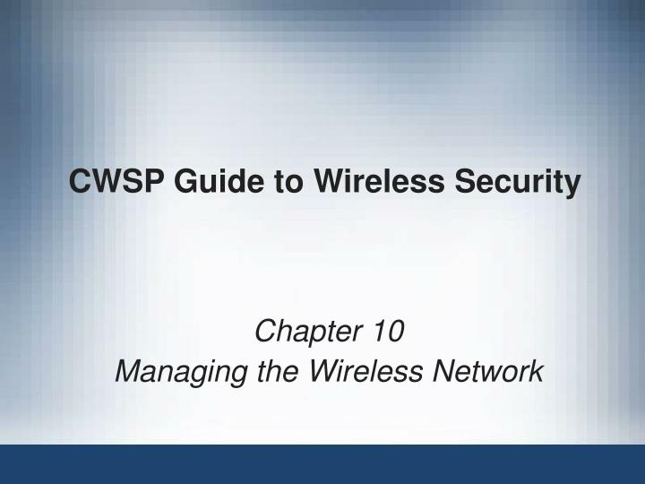 cwsp guide to wireless security n.