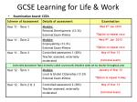 gcse learning for life work