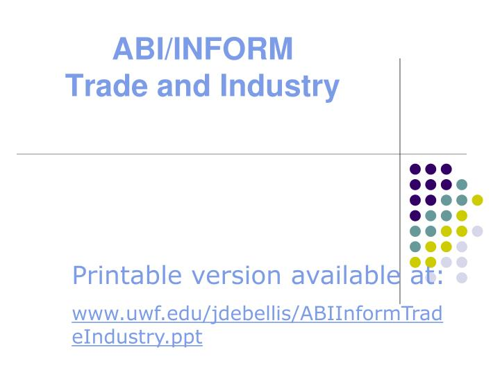 abi inform trade and industry n.