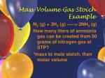 mass volume gas stoich example