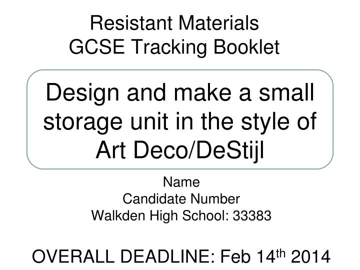 resistant materials gcse tracking booklet n.