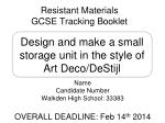 resistant materials gcse tracking booklet