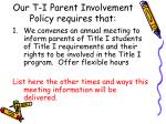 our t i parent involvement policy requires that