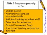 title i programs generally offer