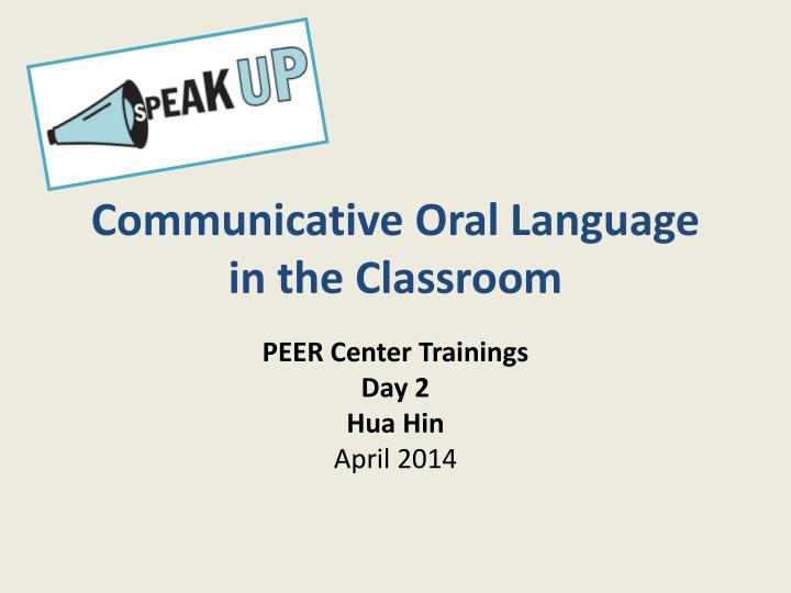 communicative oral language in the classroom n.