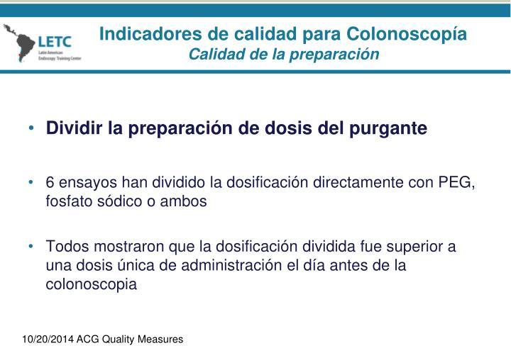Indicadores de calidad para Colonoscopía