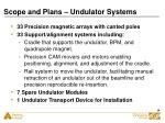scope and plans undulator systems