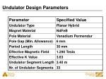 undulator design parameters
