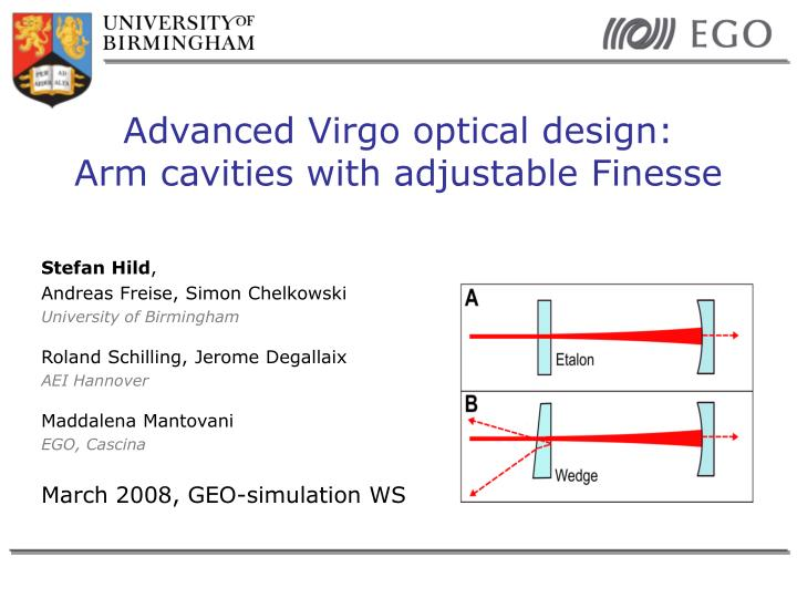 advanced virgo optical design arm cavities with adjustable finesse n.