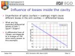 influence of losses inside the cavity