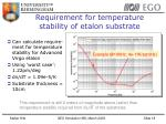 requirement for temperature stability of etalon substrate