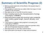 summary of scientific progress 2