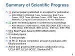 summary of scientific progress