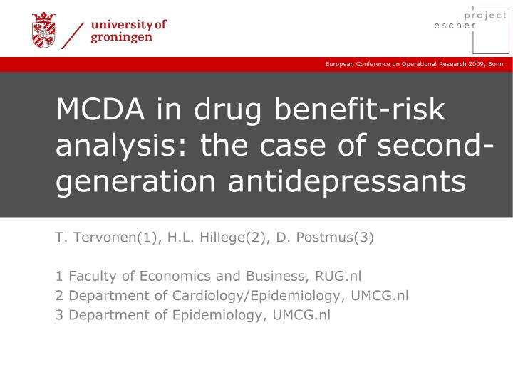 mcda in drug benefit risk analysis the case of second generation antidepressants n.