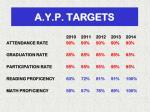 a y p targets