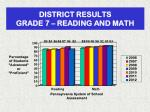district results grade 7 reading and math