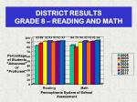 district results grade 8 reading and math