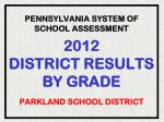 pennsylvania system of school assessment 2012 district results by grade parkland school district