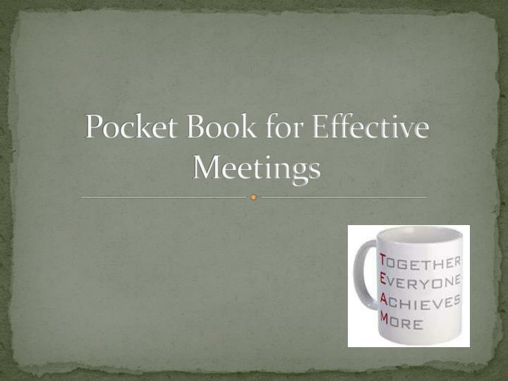 pocket book for effective meetings n.