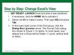 step by step change excel s view