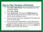 step by step navigate a worksheet1