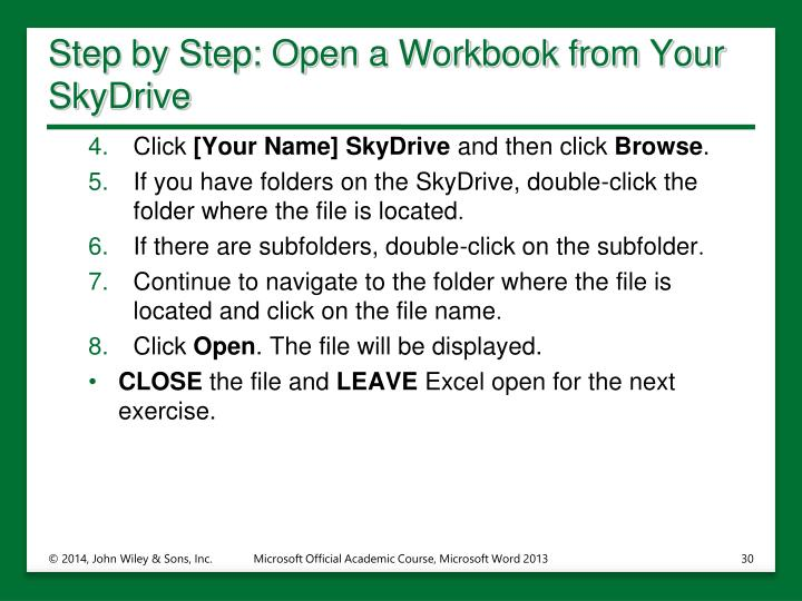 Step by Step: Open a Workbook from Your SkyDrive