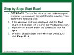 step by step start excel