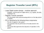 register transfer level rtl