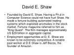 david e shaw