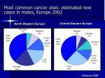 most common cancer sites estimated new cases in males europe 2002