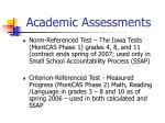academic assessments
