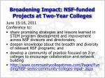 broadening impact nsf funded projects at two year colleges