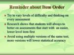 reminder about item order