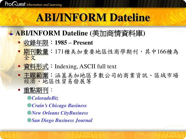 ABI/INFORM Dateline