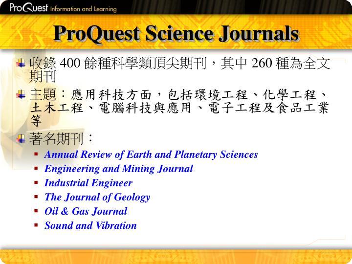 ProQuest Science Journals
