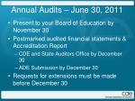 annual audits june 30 2011