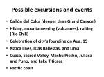 possible excursions and events