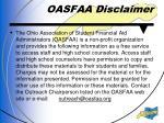 oasfaa disclaimer