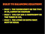 rules to balancing equations