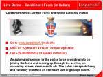 live demo carabinieri force in italian
