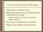 crisis in scholarly publishing