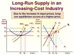 long run supply in an increasing cost industry