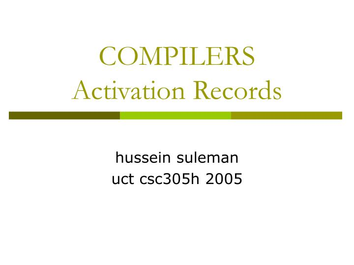 compilers activation records n.