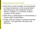 temporaries and labels